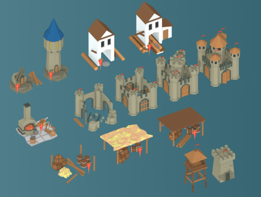 Low Poly Medieval Buildings