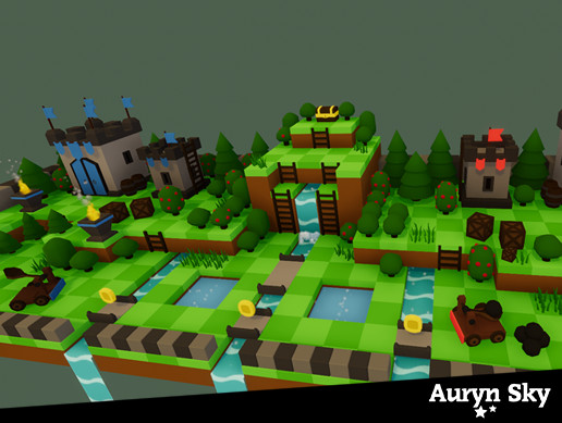 Mobile Low Poly Toon Battle Arena / Tower Defense Forest Pack