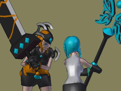 Pack Girls Animes (3D Manga Model) Mage+Stick & Warrior+Sword