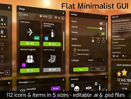 Flat Minimalist GUI / UI pack - over 600 PNG!