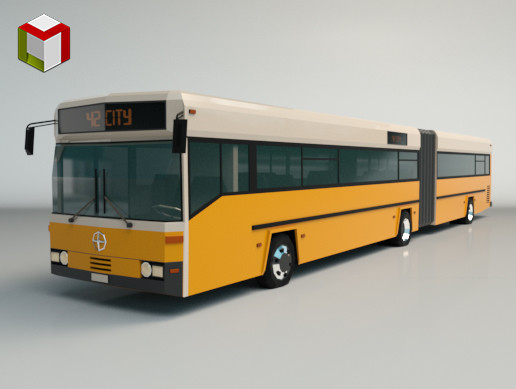 Low Poly City Bus 02