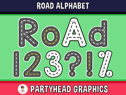 Road Alphabet - Upper-Lower-Numbers-Symbols (Assets For Children´s Games)