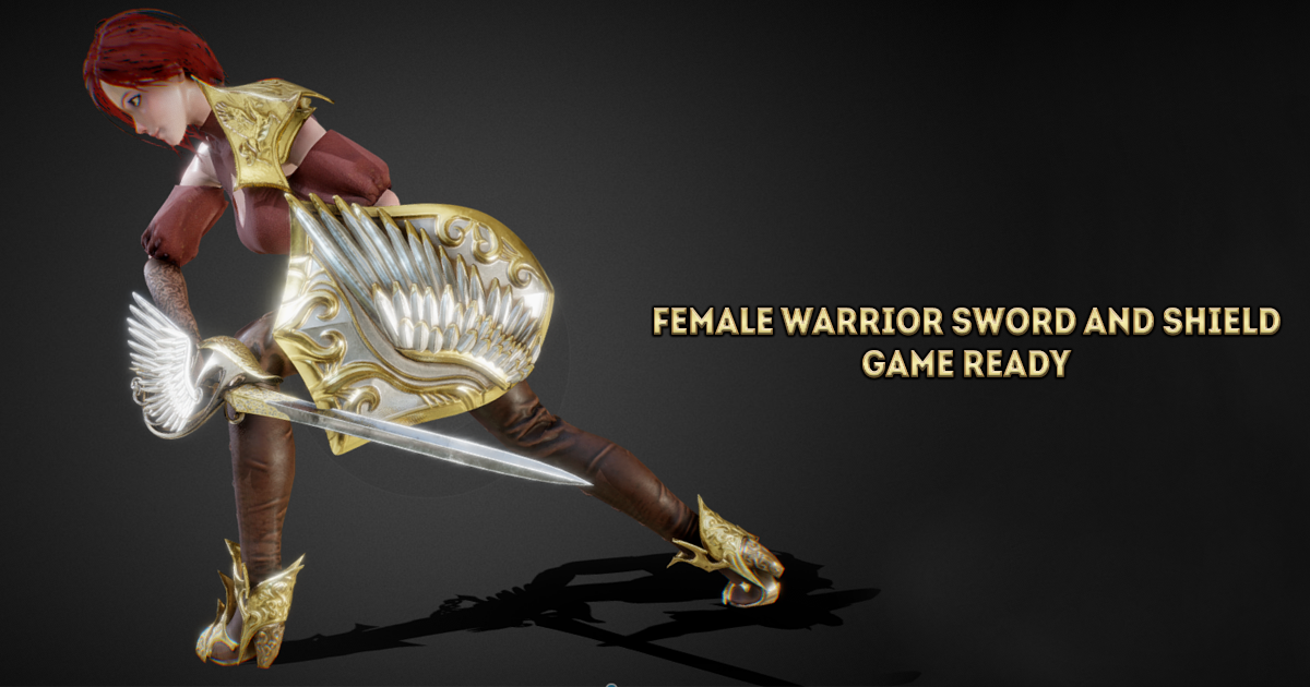 Female Warrior Sword and Shield