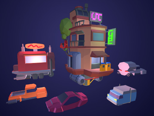 Low Poly Sci-fi Building Gaz Station and Vehicles