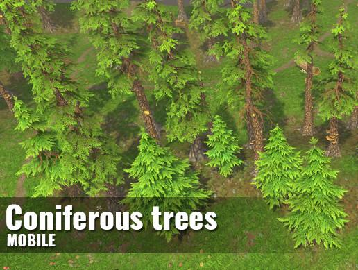 Сoniferous trees — Hand-painted