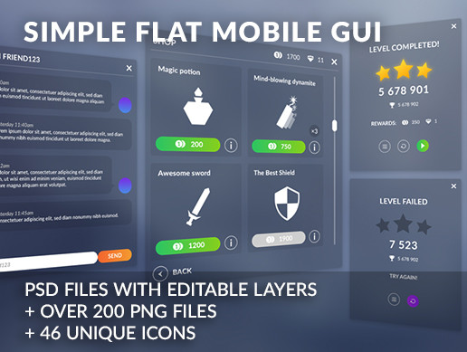 Flat clean GUI - over 200 PNG files!