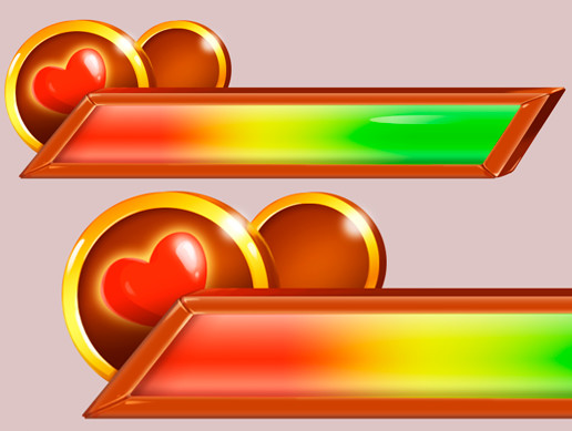 Glowing heart health bar