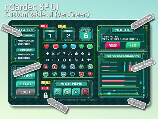 nGarden Retro SF UI (Green)