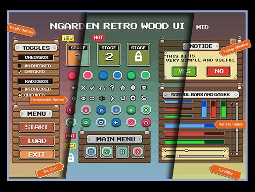 nGarden Retro Wood UI Pack