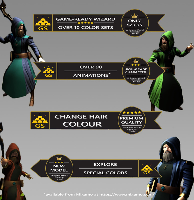 Animated Wizard Character Model - Asset Store
