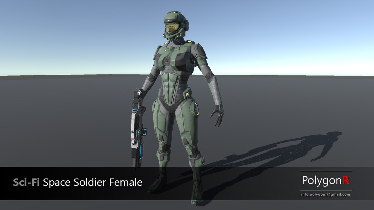 Sci Fi Space Soldier Female PolygonR - Asset Store