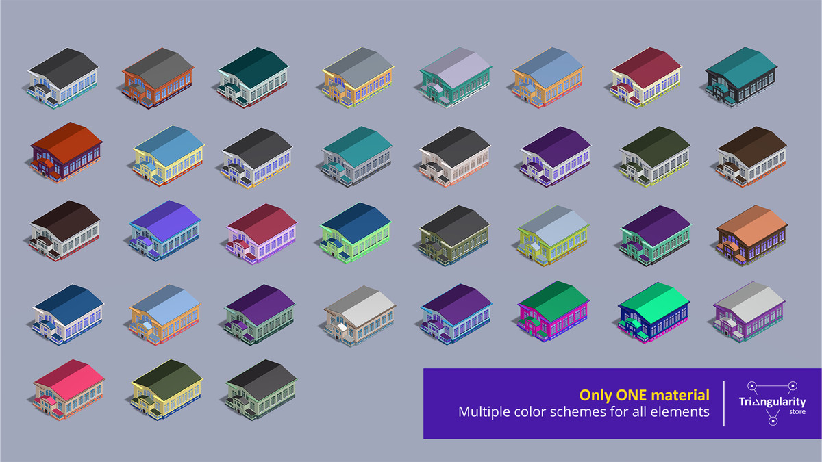 Low poly buildings with multiple color schemes - Colorful City