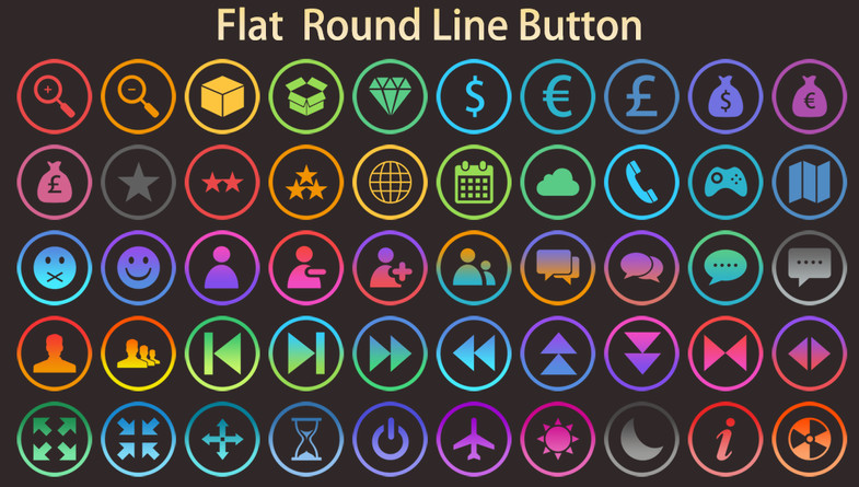 6000+ Flat Buttons Icons Pack - Asset Store