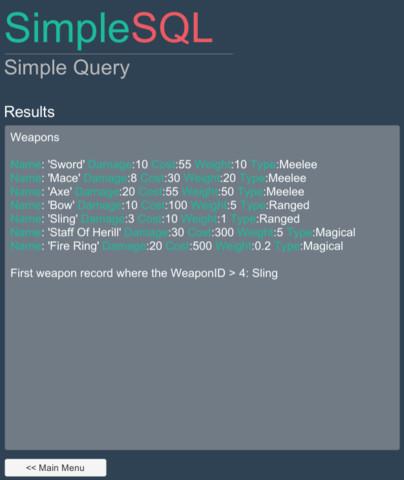 SimpleSQL - Asset Store