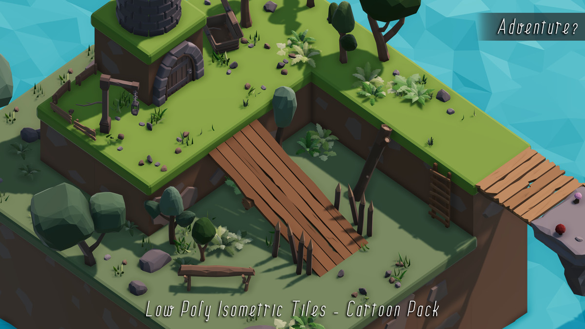 Low Poly Isometric Tiles - Cartoon Pack - Asset Store