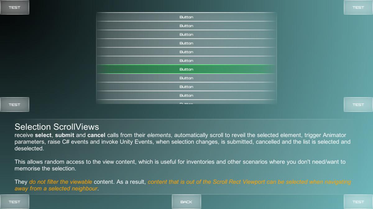 GamePad Navigation (Scroll Views and Selection Groups