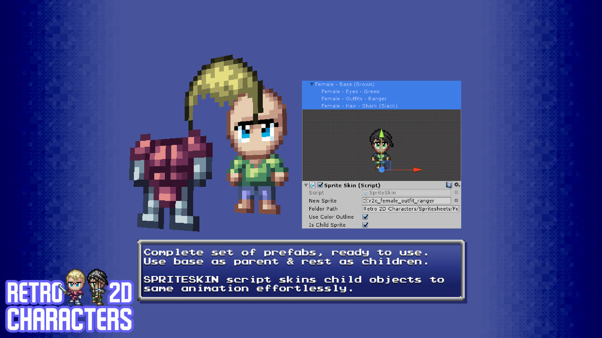 retro 2d characters assets for unity 2d game projects