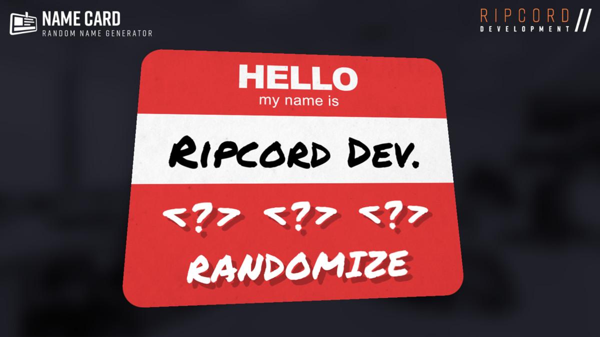 Name Card - Random Name Generator - Asset Store