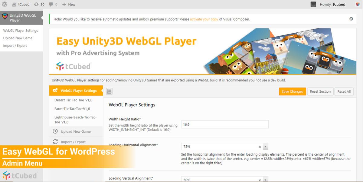 Easy WebGL WordPress Plugin with Pro Advertising System